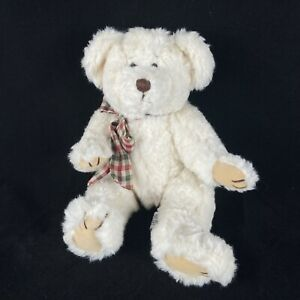 """Russ Berrie BYRON Teddy Bear 12"""" Plush Jointed Cream Red Green Plaid Bow Toy"""