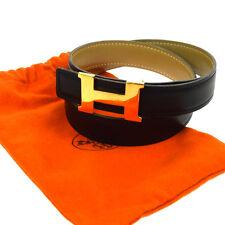 Authentic HERMES Vintage H Logos Mini Buckle Constance Reversible Belt V11779