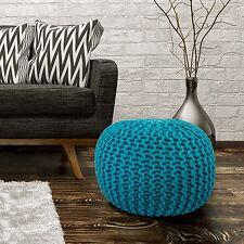 Sitzhocker Sitzwürfel Poufs Handgefertigt Baumwolle Grobstrick Turkis 43x40cm