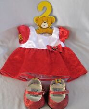 Build A Bear  Dress & Shoes Red & White W/ Hearts Red Glitter Shoes
