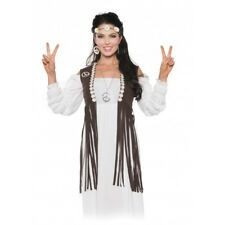 1960S 70S LADY WOMENS FEMALE RETRO PEACE HIPPIE COSTUME VEST WITH FRINGE BROWN