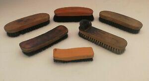 6 vintage old wooden bristle shoe cleaning polishing brushes