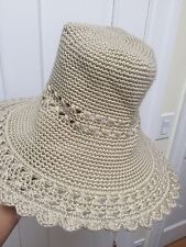Madison 88 New York City Anthropologie Crochet Floppy Hat Sandy Beige Tan be565133dfa5