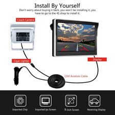 "4 PIN Rearview 5"" Monitor Suction 18 IR CCD Reversing Camera For Caravan Trailer"