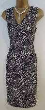 PRECIS PETITE Black White Floral Stretchy Bodycon Dress  Cross Over UK SIZE S