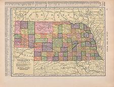 1909 Mapa ~ Nebraska Estado Reservación India de las fronteras militares reserva forestal
