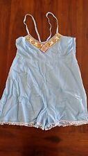 Malala Co Blue Cotton with beaded detail playsuit szL BNWT free post E17