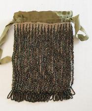 ART DECO PURSE Green Beaded Bag w/ Drawstring Ribbon Closure Incredible Design