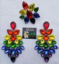 drag queen jewerly new pride show pageant dragqueen Ring earrings clip rainbow