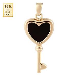 14K Real Solid Gold heart Key Charm Pendant Natural Black Onyx Heart Key Charm