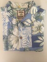 Tommy Bahama Button Up Silk Blend Hawaiian Camp Shirt Hibiscus Palm Leaves S