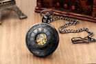 Vintage Steampunk Pocket Watch Hollow White Hand Scale Mechanical Skeleton Chain