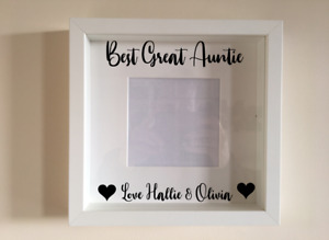 Box Frame Vinyl Decal Sticker Wall art Quote Best Great Auntie love Name