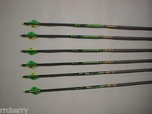 6 Gold Tip XT Hunter 7595 340 Carbon Arrows w/ Bohning Blazer Vanes! WILL CUT!
