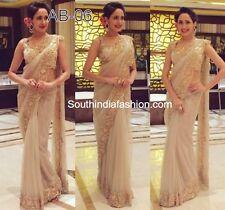 Indian Bollywood Ethnic Bollywood Designer Beige cream Saree Party Sari Traditio