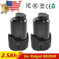 2x 12V 2.5Ah Li-ion Battery for Ridgid R82049 AC82049 AC82048 R82049 R86045 US