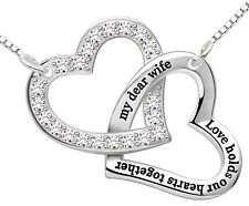 "ALOV Silver ""my dear wife love holds our hearts together"" Heart Pendant Necklace"