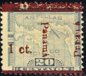 1906 Columbia Stamps  Panama Overprint SC181 A4 1c on 20c ERROR Blue 🗺️  MHOG