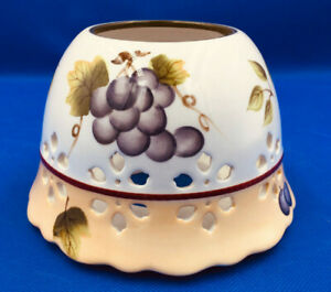 Home Interiors Sonoma Villas Candle Shade Topper New in Box HOMCO Fruit & Grapes