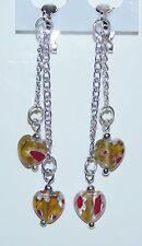 Light Brown Glass Heart Millefiori & Silver Chain Clip On Dangle Earrings - NEW