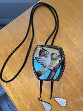 Gorgeous Metal  Mother Of Pearl Bolo Tie Bird Abalone, Turquoise, Coral, Leather
