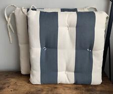 "Set Of 2 POTTERY BARN Sunbrella Outdoor 18"" Tufted Patio Chair Cushions Blue"