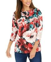 MSRP $70 Charter Club Floral-Print Boat-Neck Top Red Size Small
