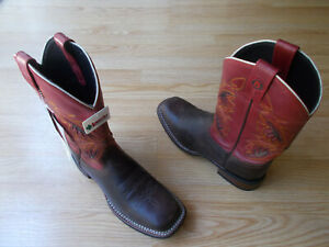 "Laredo Razor Mens Boots 7845 Western ""Underlays"" Brown Red Distressed US 9 D NEW"