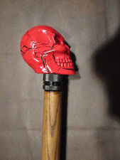 MW.666: VINTAGE RED SKULL ON TOP OF HANDSOME ASH WOOD WALKING STICK CANE ZOMBIE
