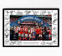 ARSENAL SIGNED PRINT POSTER PHOTO SQUAD 2017 FA CUP TEAM PICTURE SANCHEZ OZIL