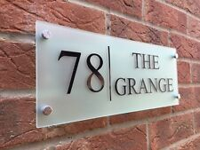 MODERN HOUSE SIGN PLAQUE DOOR NUMBER STREET GLASS EFFECT ACRYLIC NAME