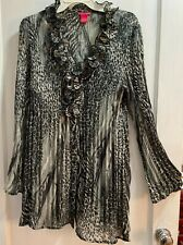 Sunny Leigh Sheer Black And White Leopard Top Size Xl