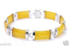 Pretty Natural Yellow Jade Gemstone Sterling Silver Fortune Lucky Link Bracelet