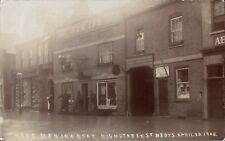 St Neots Flood. Three Men in a Boat High Street 1908 by J.Phillips. New Inn.