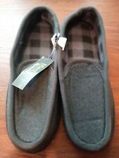 Mens Gray Moccasins Slippers Size Large (11-12)