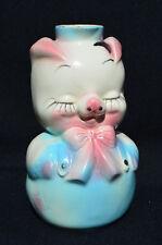 Vintage Leeds Hull Pottery 1940s Pig Liquor Decanter/Bottle - Blue & Pink