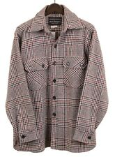 Norm Thompson Gray Plaid Red Check Tweed Wool Button Front Over Shirt Shacket L