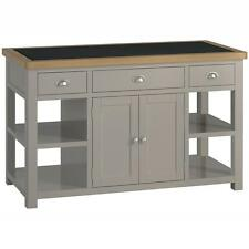 Padstow Grey Large Kitchen Island / Solid Wood Painted Kitchen Island / Granite