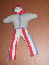 New listing Antique Hand Made Primitive Patriotic Fabric Doll 4th July Striped Pants Stuffed