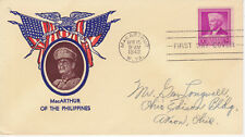 WORLD WAR II PATRIOTIC COVER - FDC LUTHER BURBANK - MacARTHUR OF THE PHILIPPINES