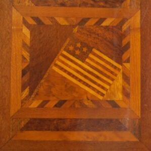 FOLK ART PRIMITIVE ANTIQUE MARQUETRY INLAID WOOD AMERICAN FLAG DOUBLE SIDED