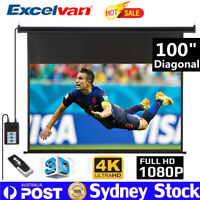 100 Inch Electric Motorised Projector Screen Home Theatre HD TV Projection 3D 4K