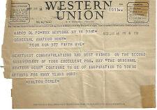 WESTERN UNION TELEGRAM MILTON BERLE TED MACK ORIGINAL AMATEUR HOUR