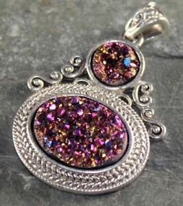 Silver Vintage Style Purple Rainbow Titanium Druzy PENDANT WP10206