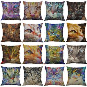 18 inches Colorful Cat Throw Pillow Cover Animal Waist Cushion Pillows Décor