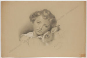 """Marianne von Eschenburg (1856-1937) """"Child with rabbit"""", drawing, 1870/80s"""