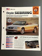 1998 Chrysler Sebring Convertible IMP Hot Cars Spec Sheet Folder Brochure L@@K