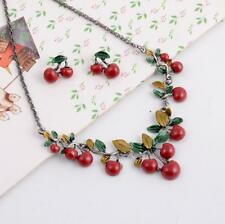 Jewelry Pendant Betsey Johnson Enamel Cherry Earrings and necklace fashion Sets