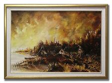 ARNE JOHANSSON / SUNSET IN BRIGHT COLOURS - Original Swedish Oil Painting