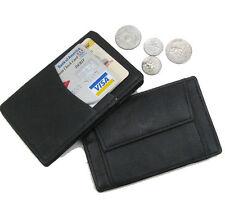 Black Genuine Leather Mens Kids Magic Wallet Coin Bill Fold Coin Pocket Holder